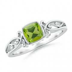 Vintage Style Cushion Peridot Solitaire Ring
