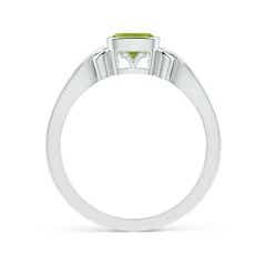 Toggle Vintage Style Cushion Peridot Solitaire Ring