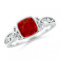 Bezel Set Cushion-Cut Ruby Vintage Solitaire Ring
