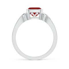 Toggle Vintage Style Cushion Ruby Solitaire Ring