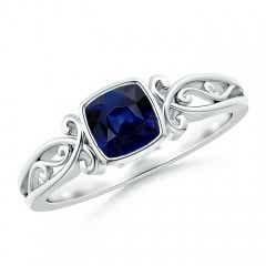 Vintage Style Cushion Sapphire Solitaire Ring