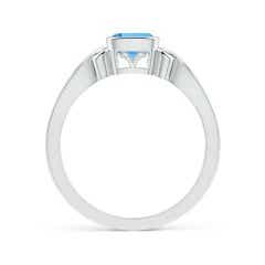 Toggle Vintage Style Cushion Swiss Blue Topaz Solitaire Ring