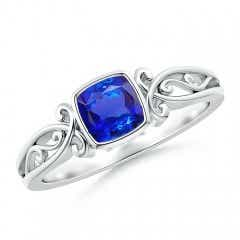 Vintage Style Cushion Tanzanite Solitaire Ring