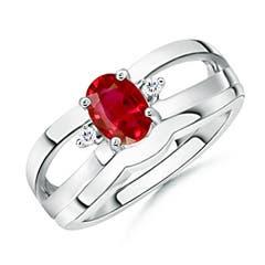 Split Shank Ruby Engagement Ring and Wedding Band Set