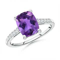 Solitaire Cushion Cut Amethyst Ring with Diamond Accents