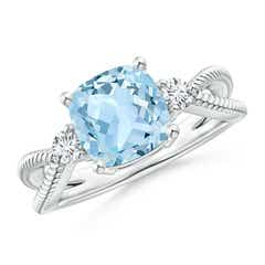 Cushion Aquamarine Split Shank Ring with Rope Detailing