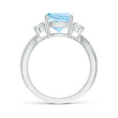 Toggle Cushion Aquamarine Split Shank Ring with Rope Detailing