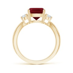 Toggle Cushion Garnet Split Shank Ring with Rope Detailing
