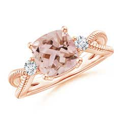 Cushion Morganite Split Shank Ring with Rope Detailing
