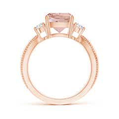 Toggle Cushion Morganite Split Shank Ring with Rope Detailing