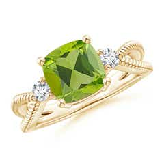 Cushion Peridot Split Shank Ring with Rope Detailing
