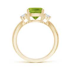 Toggle Cushion Peridot Split Shank Ring with Rope Detailing