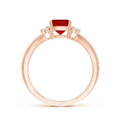Toggle Cushion Ruby Split Shank Ring with Rope Detailing