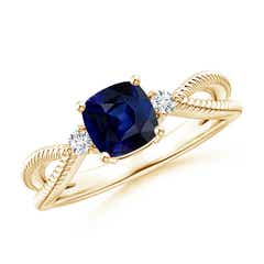Cushion Sapphire Split Shank Ring with Rope Detailing