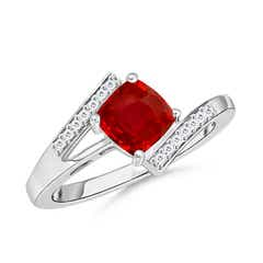 Solitaire Cushion-Cut Ruby Bypass Ring with Diamond Accents
