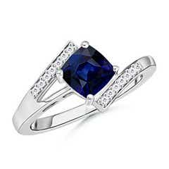 Solitaire Cushion Sapphire Bypass Ring with Diamond Accents