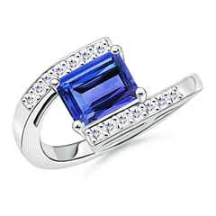 Solitaire Emerald-Cut Tanzanite Bypass Ring with Diamond Accents