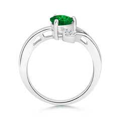 Toggle Emerald Double Heart Bypass Ring with Diamond