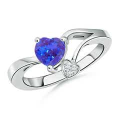 Tanzanite Double Heart Bypass Ring with Diamond