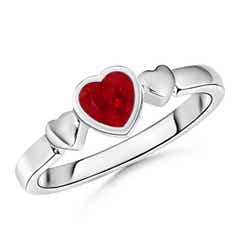 Bezel-Set Solitaire Ruby Triple Heart Ring