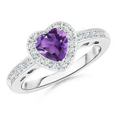 Heart Shaped Amethyst Halo Ring with Diamond Accents