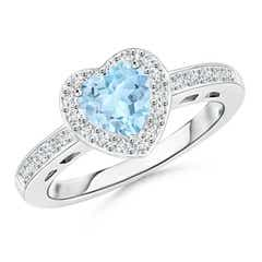 Heart-Shaped Aquamarine Halo Ring with Diamond Accents