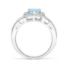 Toggle Heart-Shaped Aquamarine Halo Ring with Diamond Accents