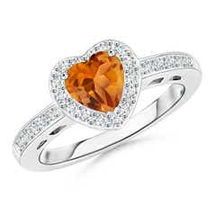 Heart-Shaped Citrine Halo Ring with Diamond Accents