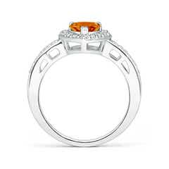 Toggle Heart-Shaped Citrine Halo Ring with Diamond Accents