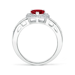 Toggle Heart-Shaped Garnet Halo Ring with Diamond Accents