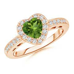 Heart-Shaped Peridot Halo Ring with Diamond Accents
