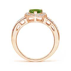 Toggle Heart-Shaped Peridot Halo Ring with Diamond Accents