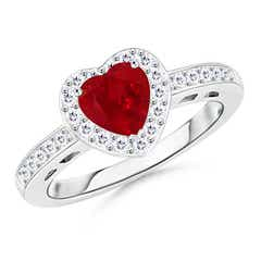 Heart-Shaped Ruby Halo Ring with Diamond Accents