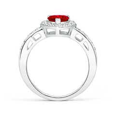 Toggle Heart-Shaped Ruby Halo Ring with Diamond Accents