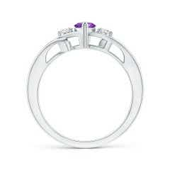 Toggle Marquise Amethyst Split Shank Ring with Diamonds