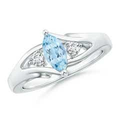 Marquise Aquamarine Split Shank Ring with Diamonds