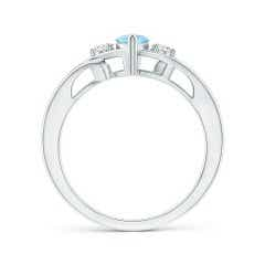 Toggle Marquise Aquamarine Split Shank Ring with Diamonds