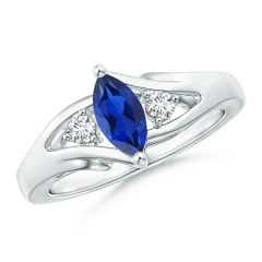 Marquise Sapphire Split Shank Ring with Diamonds