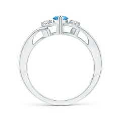Toggle Marquise Swiss Blue Topaz Split Shank Ring with Diamonds