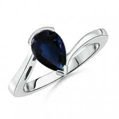 Solitaire GIA Certified Pear-Shaped Sapphire Bypass Ring