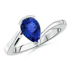 Pear Shaped Solitaire Tanzanite Bypass Ring