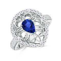 Vintage Style Pear Tanzanite Ring with Latticework