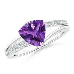 Angara Two Stone Trillion Amethyst Bow Tie Ring Ae40Z