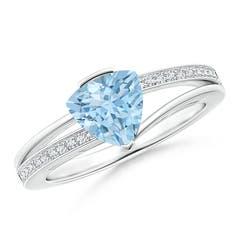 Split Shank Trillion Aquamarine Ring
