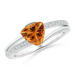 Angara Trillion Citrine Solitaire Ring with Diamond Accents QIped92J