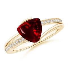 Split Shank Trillion Garnet Ring