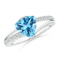 Split Shank Trillion Swiss Blue Topaz Ring