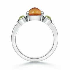 Toggle Sugarloaf Citrine and Cabochon Peridot Three Stone Ring