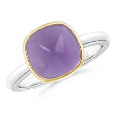 Bezel-Set Cushion Amethyst Solitaire Ring in Two Tone