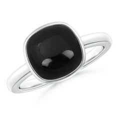 Bezel-Set Cushion Black Onyx Solitaire Ring